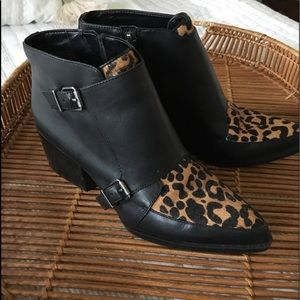 Leather animal print boots